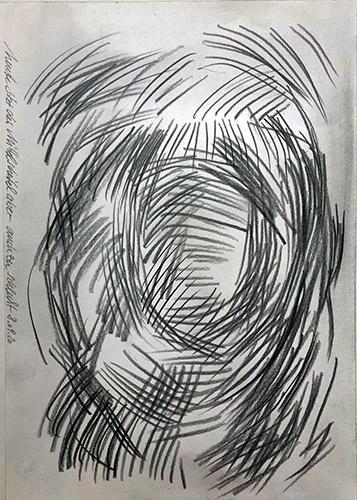 Bleistiftköpfe-2-Am Scheitel 2020 Bleistift auf Papier 30 x 20 cm