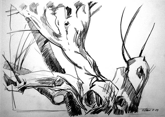 Kretabaum 2004 Bleistift, 59 x 84 cm