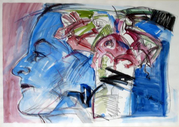 Selbst mit Amaryllistopf 2005 Aquarell auf Bütten, 59 x 84 cm